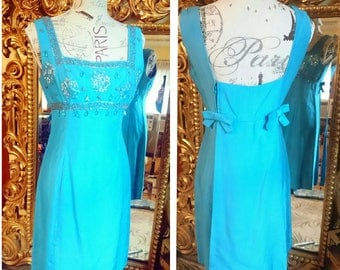 Vintage 1960's Elinor Gay Original Silk Beaded Dress!