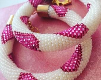 Handmade beaded bracelet with hearts