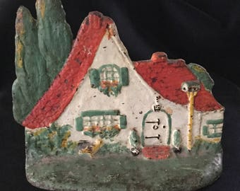 Antique Sculptured Metal Studios Painted Cottage House Doorstop