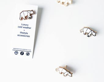 North Polar Bear enamel Pin - Gold