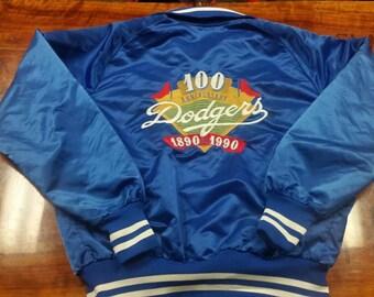 Dodgers jacket, 100th anniversary, dodger staduim,los angeles dodgers, satin jacket size large,80s,90s, vintage jacket