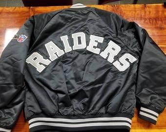 LARGE Raiders jacket,LA Raiders, Oakland Raiders, Las Vegas Raiders, satin jacket,80s,90s,vintage jacket, starter jacket,chalkline jacket