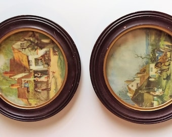 Pair of Vintage Antique  1930s-40s Oval Framed Dennite Art Prints Chicago Semmstein