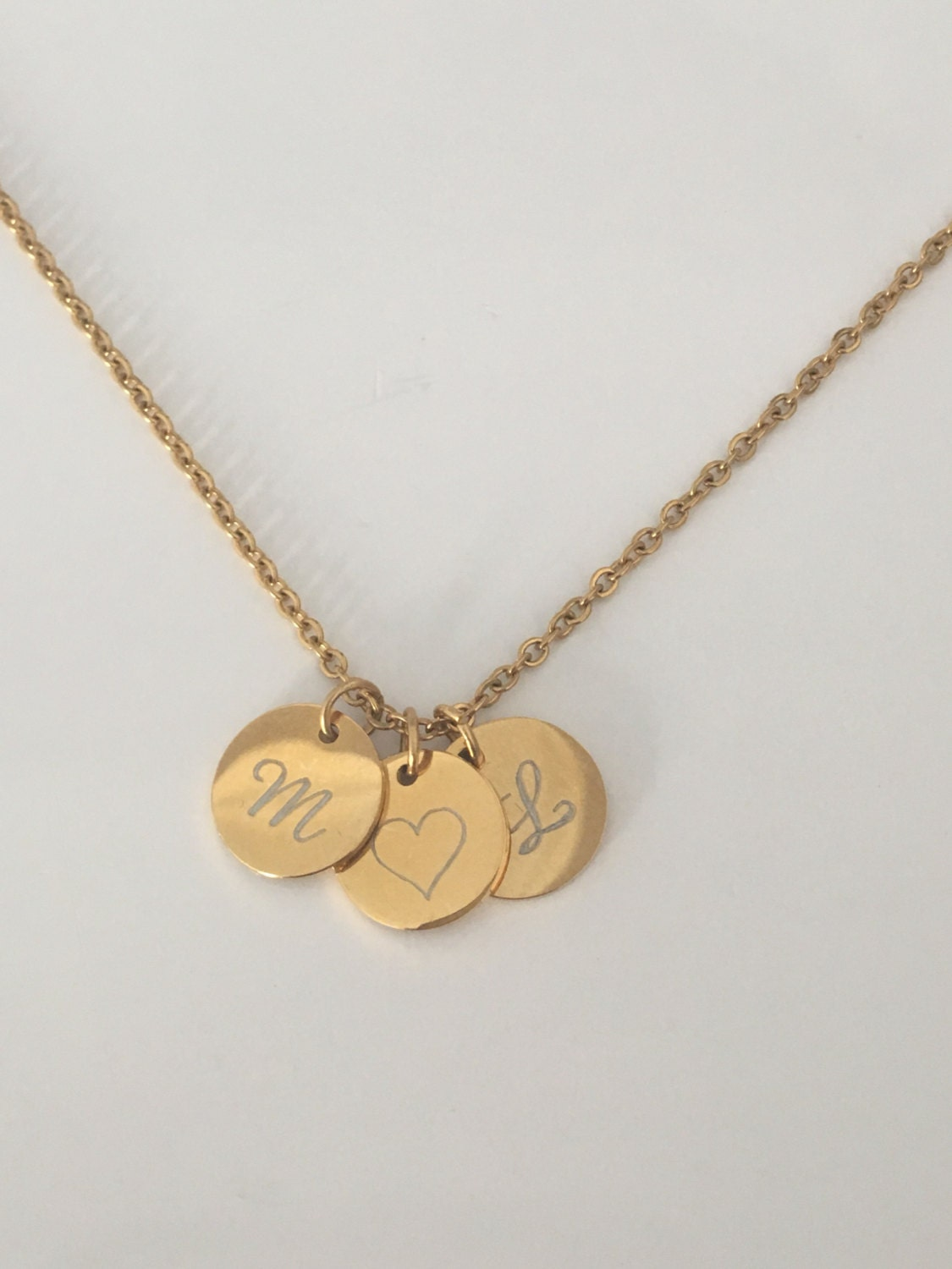 dainty necklace initial disc necklace bridesmaid gifts