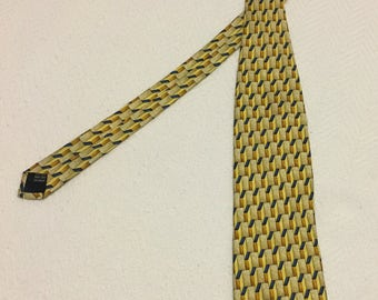 Vintage Kolte Navy and Gold Silk 3-Dimensional Design Necktie - Made in Italy