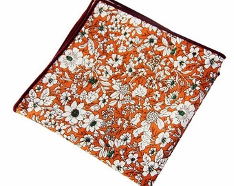 Men's Orange Floral Pocket SquareWedding Handkerchief,Groomsmen ,Father Gift,Boyfriend,Gift,Party,VintageProm,Wedding Accessories,Graduation