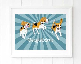 Beagle starburst wall decor, large blue giclee, large blue artwork, blue modern wall art, beagle art, beagle gift