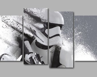 Stormtrooper Star Wars inspired 4 Panel Split Canvas Picture Wall Art