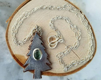 Sterling Silver & Copper Pinetree Pendant