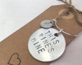 wine charm, personalised, hand stamped, wine lovers gift