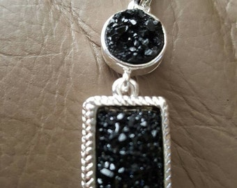 Black Druzy Pendant!