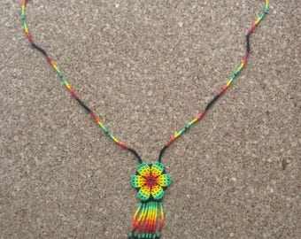 Huichol beaded flower necklace