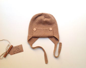 READY TO SHIP - 100% cashmere earflap pilot aviator hat, color Camel, handknitted , size 12-24 months