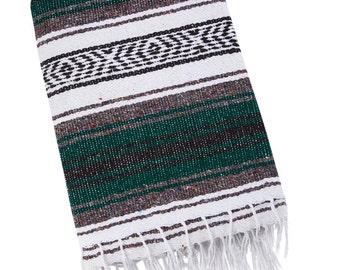 Mexican Throw Blanket - Dark Green, Light Gray, White & Black Aztec Design