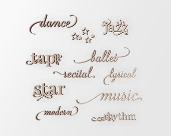 Wooden Performing Arts Word Art  - Cutout, Home Decor, Unfinished