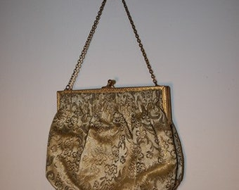 Evening Bag - Design - Vanity Case - France - Vintage - Brocades - Gold/Beige - Party
