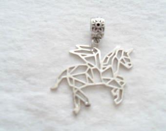 Antique Silver Origami Pegasus Pendant, 38 mm x 36 mm (1387A)