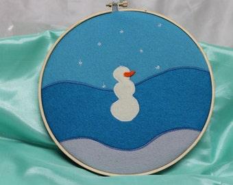 Felt art, hoop art, felt hoop art, felt painting, snowman art, felt snowman, snowman felt art, simple snowman, snowman