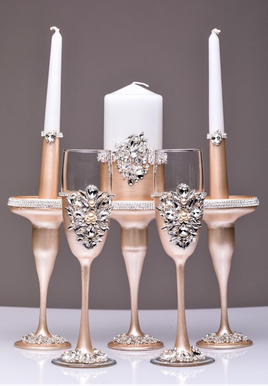 Wedding Unity Candle Holders Candle And Wedding Glasses Ivory