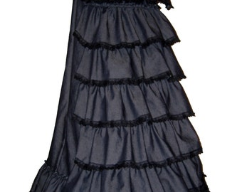 STEAMPUNK BUSTLE SKIRT, long gothic skirt, victorian costume, full length skirt, made to measure, any  length, plus size, 22 24 26 28 30 32