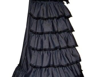 VICTORIAN BUSTLE SKIRT, long gothic skirt, steampunk full length skirt, victorian dress, 1900 costume, made to order, size 16-18,