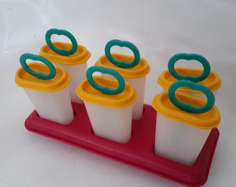 Tupperware, ice lolly maker, Lollipop, Popsicle, vintage plastic, collectable, yellow and red from the 1970s