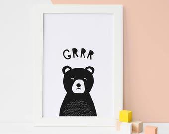 Bear Print, Printable Art, Woodland Nursery Decor, Girls Nursery Decor, Black White Nursery, Bear Nursery Art, Print Bear, Baby Boy