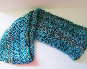 Turquoise Cowl, Long Turquoise Scarf, Blue Infinity Scarf, Knit Scarf, Lacey Turquoise Scarf, Gift for Her, Mother's Day Gift under 20