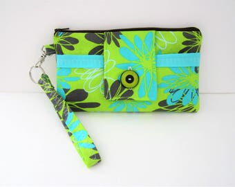 Wristlet Wallet, Green Wristlet Purse, Flowered Wristlet Wallet, Fabric Wristlet, Women's Wristlet, Wristlet Clutch, Zipper Wallet, Travel