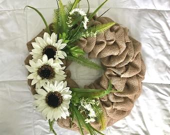 Summer Burlap Wreath, Sunflower Wreath, Front Door Wreath, Farmhouse Wreath, Fern Wreath, Farmhouse Wreath, White Sunflowers