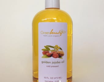 GOLDEN JOJOBA carrier OIL unrefined cold pressed organic 100% pure natural 16oz