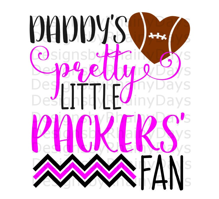 Buy 3 get 1 free! Daddy's pretty little Packers' fan cutting file, SVG, DXF, png, football design, cute girl football svg