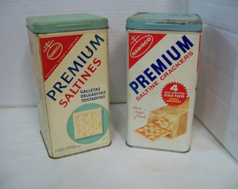 Vintage Bi-Lingual 1950 Nabisco Saltines & 1960 Saltines Metal Canisters, Tins, FREE SHIPPING