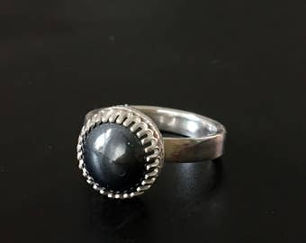 Black Hematite Sterling Silver Ring