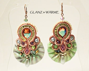 TALES of THE ORIENT earrings with shibori, Soutache, and beadwork