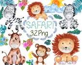 "African animals clip art: ""SAFARI ANIMALS"" Watercolor animals, Jungle Animals Clip art,Wild Animals,Cute baby animals,Tropical leaves"