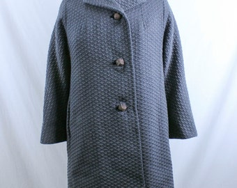 1950s Vintage Charcoal Grey Coat by B. Forman Co. Size Medium