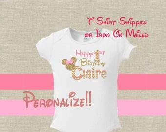 Birthday T-Shirt Shipped!! Minnie Mickey Mouse Mom Birthday Girl Shirt DIY Iron On Digital Art Matching Pink Gold Pregnancy Announcement