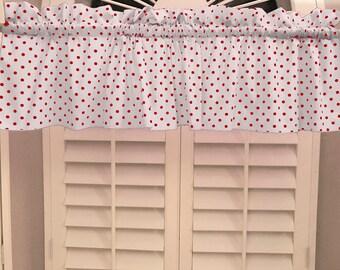 Cotton Valance Polka Dots & Spots Small Dot Red on White / Window Decor / Window Treatments
