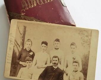 1888 Cabinet Card Photo Six Young Women One Man