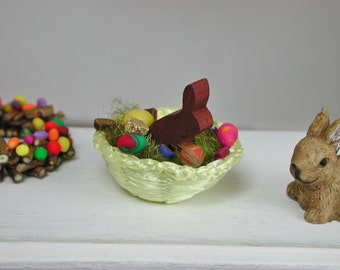 Dollhouse miniatures, Easter nest in 1:12 for the Doll House in miniature