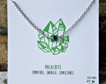 Malachite necklace stainless steel