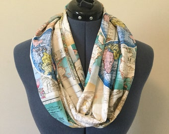 World Map Infinity Scarf / Expedition / World Map / Infinity Scarf / Traveler / Scarf / Map / Travel / Vacation / Road Trip / World Travel
