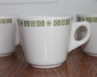 Vintage Coffee Mug, Diner Coffee Cup, Geometric Pattern, Vintage Coffee Cup, Mid Century Cup, Set Of 4, Diner Cups