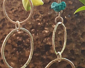 Sterling Silver, Touch of Aqua Twisted Wire Earrings