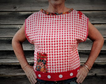 Women's cotton top, size small. Upcycled