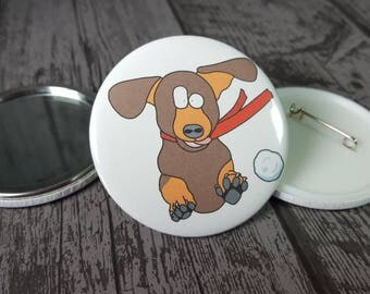 """Dachshund Christmas badge handmade by Relephant Cards. Matching card available """"Dachshund through the snow"""" Secret Santa. Stocking Filler"""