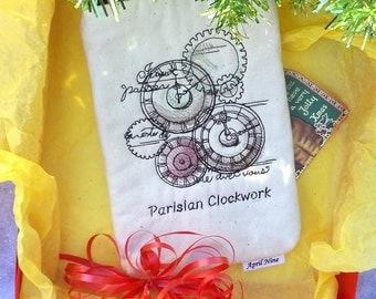Sale 11.00 orig. 21.00 Parisian Clockwork Pouch, E-reader pouch, Makeup pouch, Travel pouch, Kindle pouch, Paperback book pouch, Coin pouch