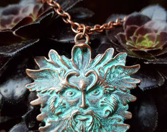Copper Greenman pendant, Spirit of the forest, Greenman necklace, Pagan jewelry