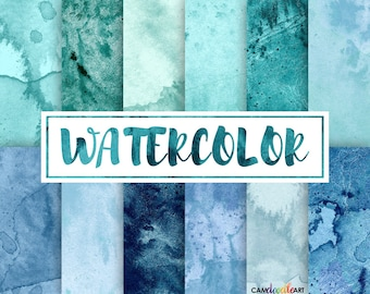 Watercolor Digital Paper Pack,Teal and Blue, Turquoise, Scrapbooking Paper,Cardmaking,  Watercolor Texture, Watercolor Background
